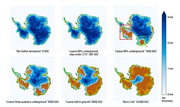 Antarctica melt rate by emission level