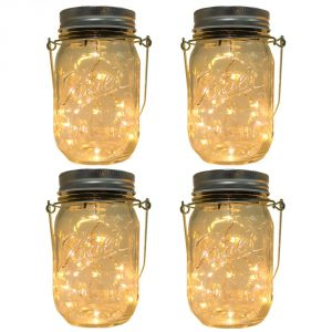 CHBKT 4-Pack Solar-Powered Mason Jar Lights