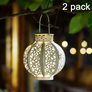 MAGGIFT 2-Pack Retro Hanging Solar Lights