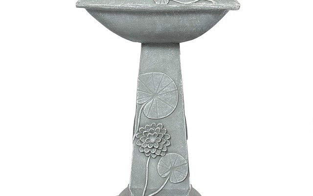 Best Choice Products Two-Tier Solar Bird Bath Fountain with LED Lights