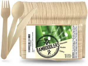 BAMBOODLERS Disposable Wooden Cutlery Set