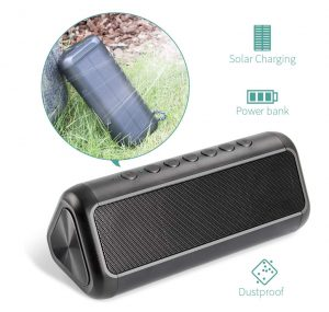Elzle Solar Bluetooth Speaker with 5,000 mAh Power Bank